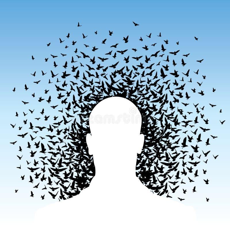 Vliegende vogels aan menselijk hoofd stock illustratie