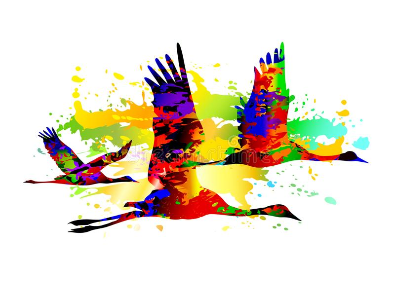 Vliegende vogels Kleurrijke kranen royalty-vrije illustratie