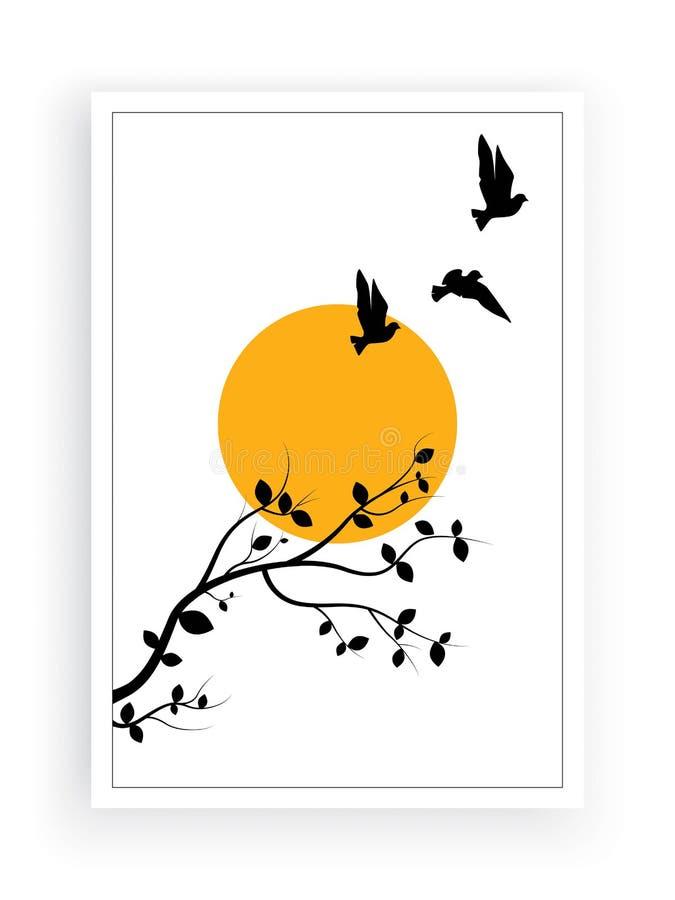 Vliegende Vogels op Tak op volle maanvector, Muuroverdrukplaatjes, Vogels op Boomontwerp, Paar van Vogelssilhouet Het ontwerp van royalty-vrije illustratie
