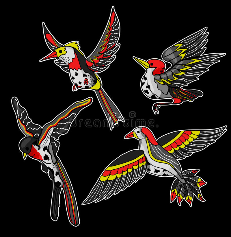 Vliegende vogelsstickers voor borduurwerk of druk Vector illustratie royalty-vrije illustratie