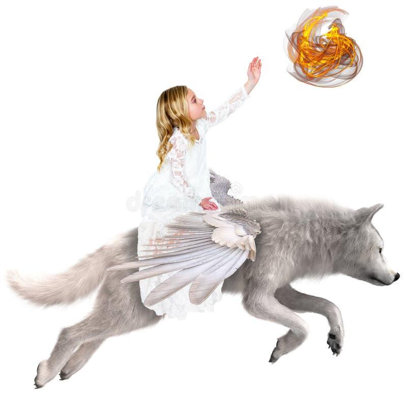 Vliegende Witte Wolf, Magisch Meisje stock foto
