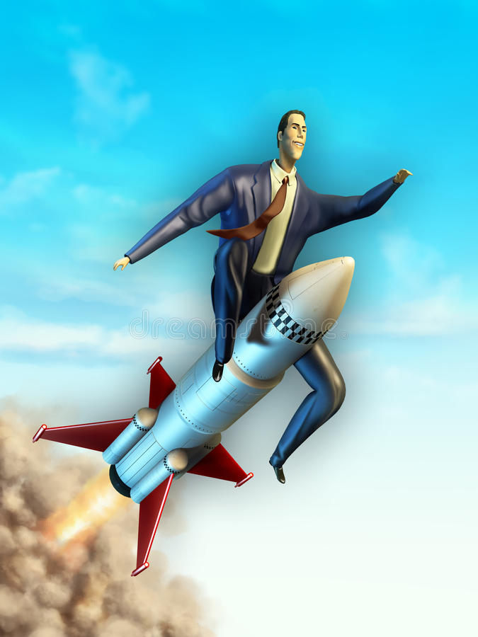 Vliegende zakenman stock illustratie