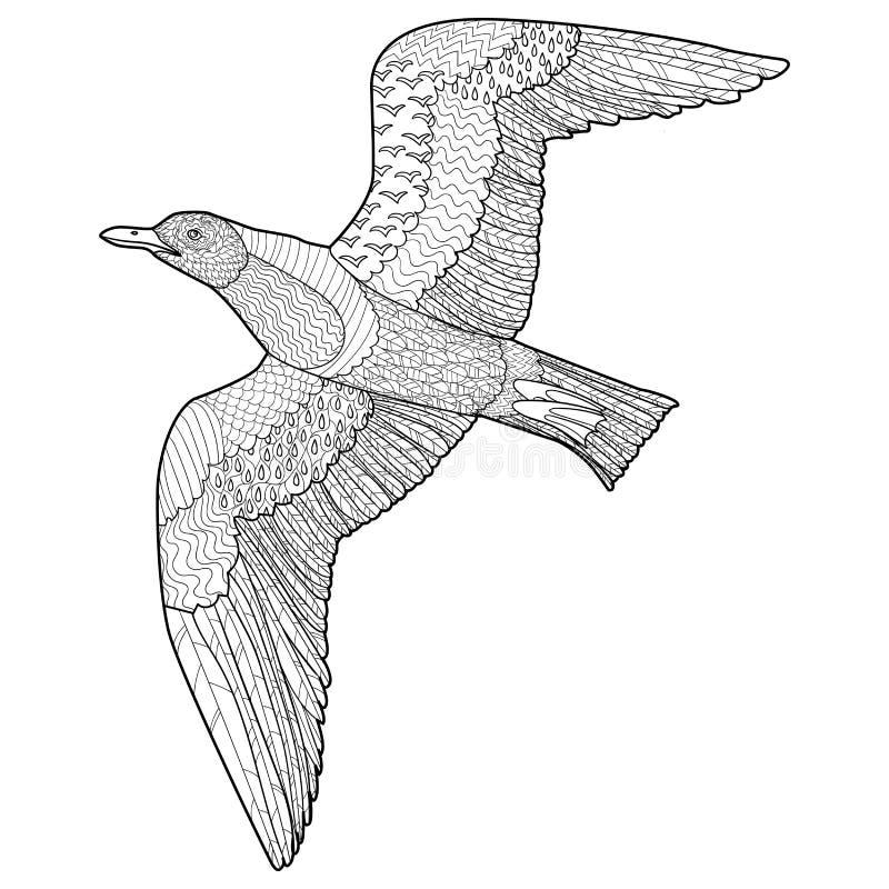 Vliegende zeemeeuw met hoge details stock illustratie