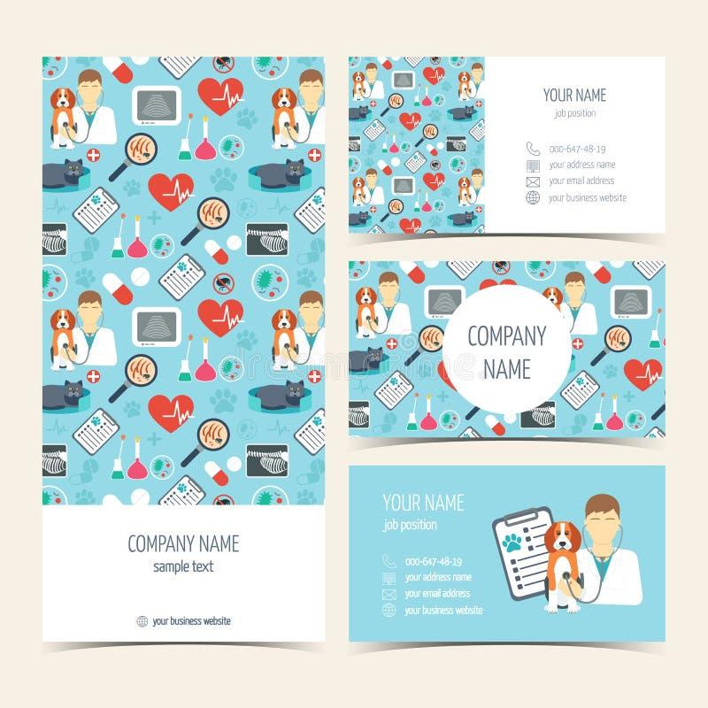 Vlieger, brochure en adreskaartjes voor dierenartskliniek Huisdier care Reeks promotieproducten Vlak Ontwerp Vector royalty-vrije illustratie