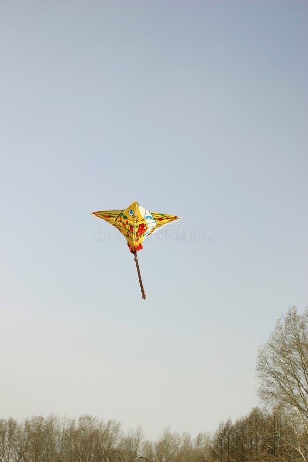 Vlieger in de hemel stock foto
