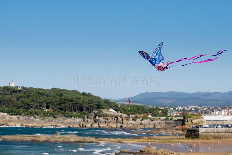 Vlieger die op het Strand vliegt stock foto