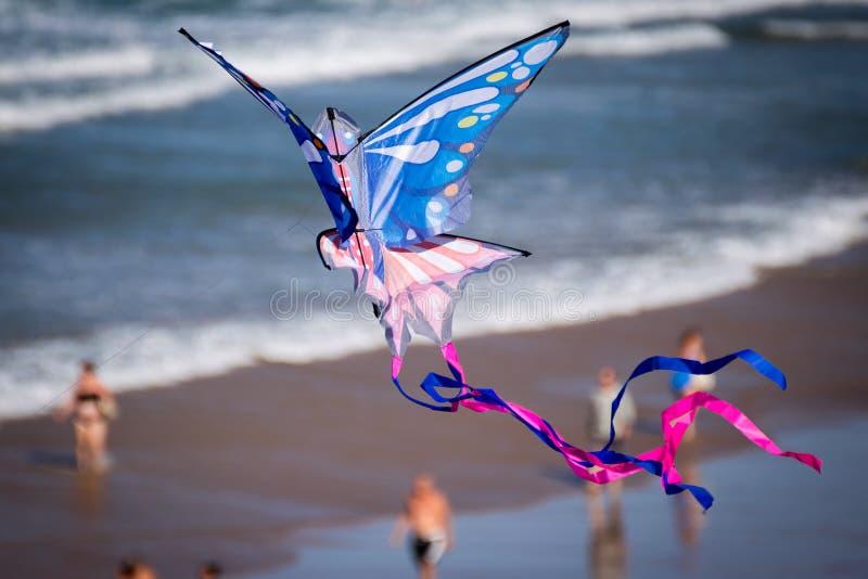 Vlieger die op het Strand vliegt royalty-vrije stock afbeeldingen