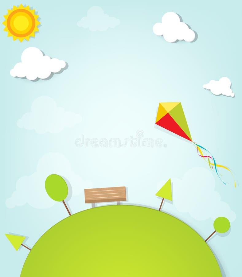 Vlieger die over het park vliegen vector illustratie