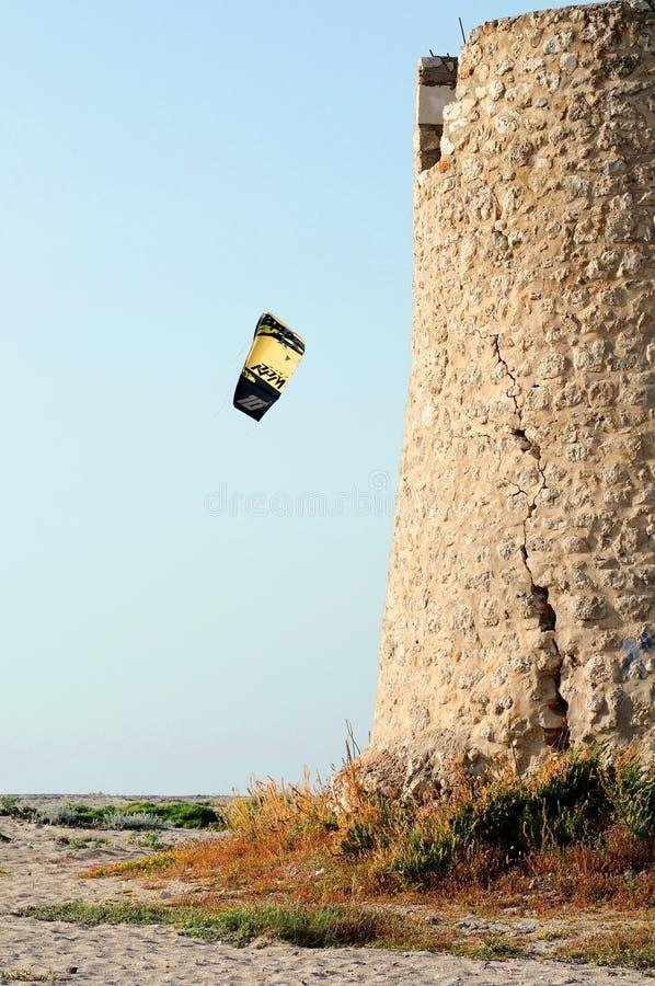 Vlieger die Vassiliki Beach in Lefkada surfen royalty-vrije stock afbeelding