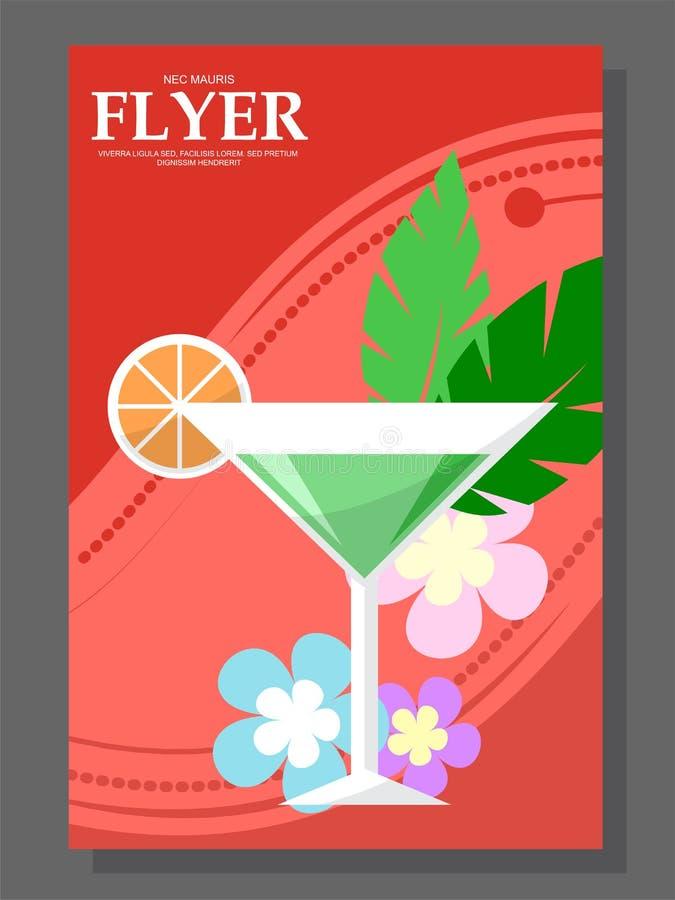 Vlieger met een cocktail op het strand Bloemen zonnig weer royalty-vrije illustratie
