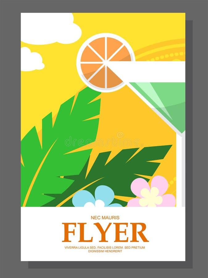 Vlieger met een cocktail op het strand Bloemen zonnig weer vector illustratie