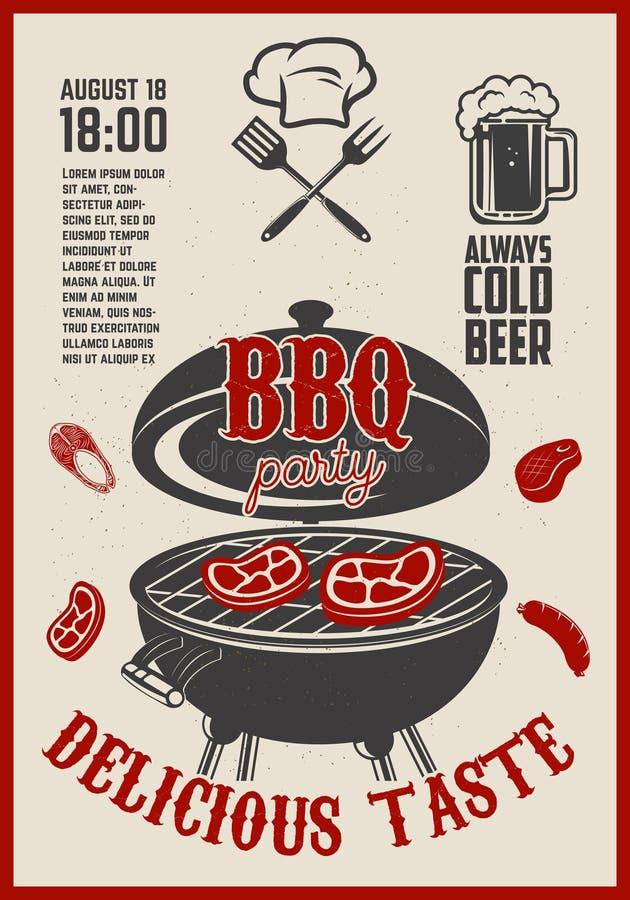 Vlieger van de barbecue de openluchtpartij Uitstekende grill op grunge backgroun vector illustratie