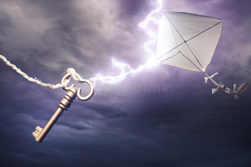 Vlieger wordt die die door een bout van bliksem wordt geslagen royalty-vrije stock afbeelding