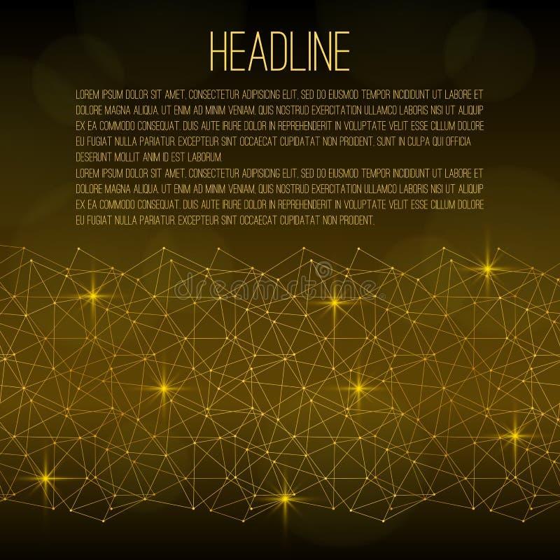 Vliegermalplaatje Gouden abstract net met vonken op een zwarte achtergrond Er is plaats voor tekst stock illustratie