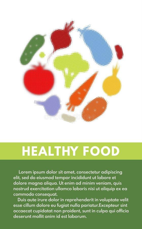 Vliegerontwerpsjabloon met groenten royalty-vrije illustratie