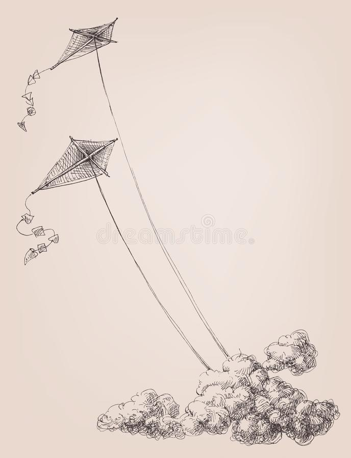 Vliegers in de hemel over de wolken royalty-vrije illustratie