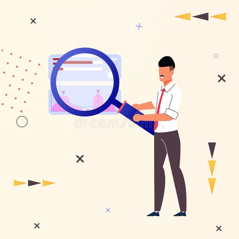 Vliegerzoeken voor Informatie over Vlak Internet vector illustratie
