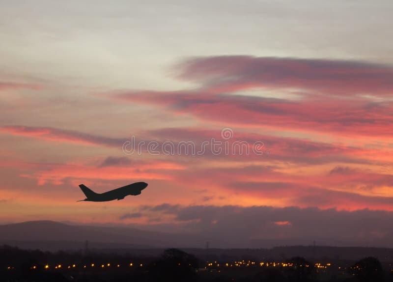 Vliegtuig 1 van de zonsopgang stock fotografie