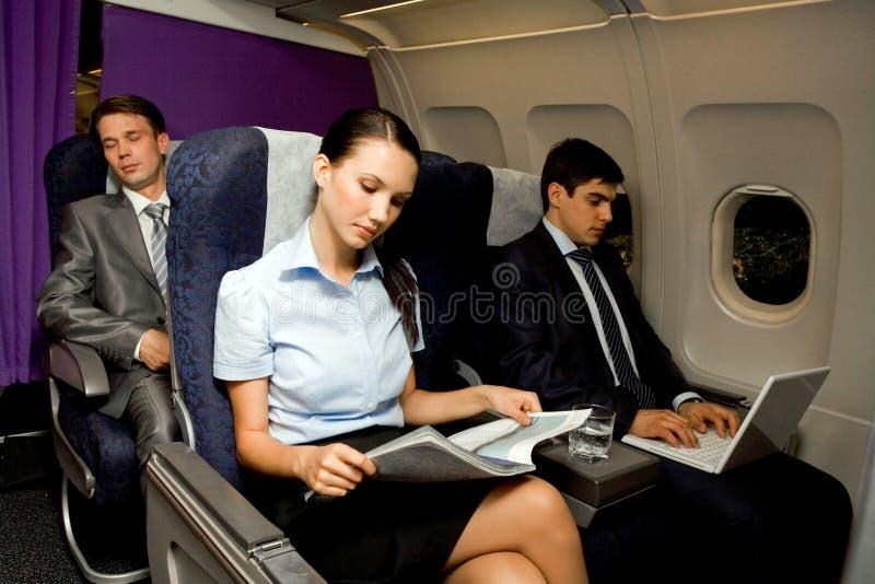 In vliegtuig stock foto