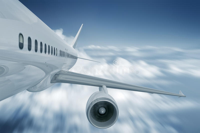 Vliegtuig achtermening royalty-vrije illustratie