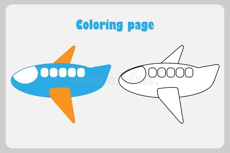 Vliegtuig in beeldverhaalstijl, kleurende pagina, onderwijsdocument spel voor de ontwikkeling van kinderen, voor het drukken gesc stock illustratie