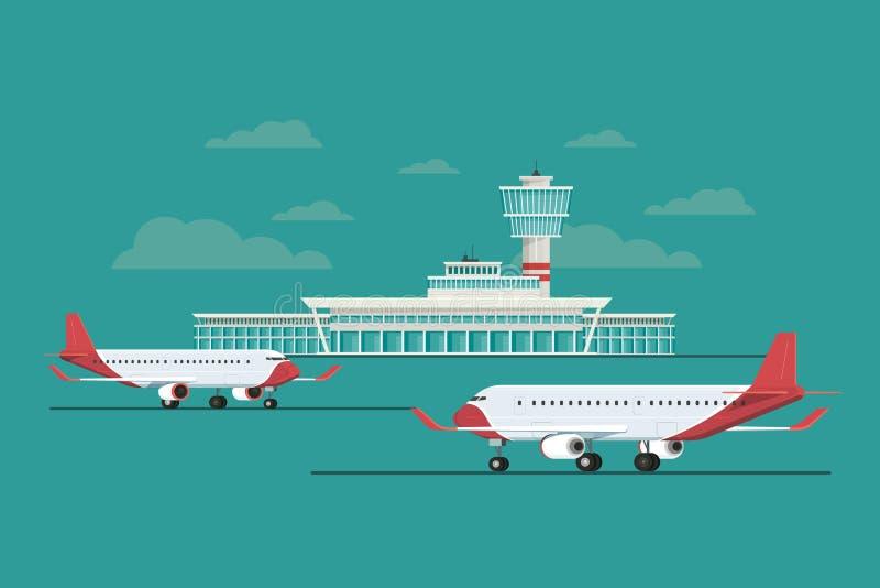 Vliegtuig bij van het Luchthavenaankomst en vertrek reis, Vectorillustra royalty-vrije illustratie