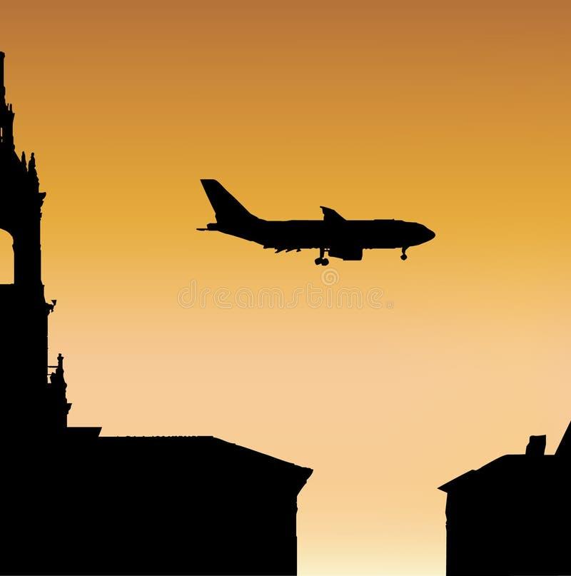 Vliegtuig bij Zonsondergang royalty-vrije illustratie