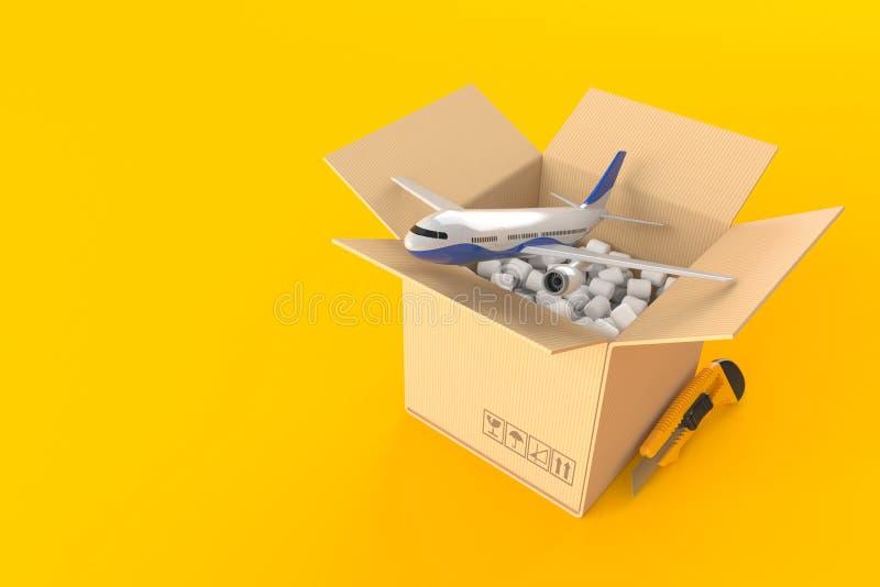 Vliegtuig binnen kartondoos vector illustratie