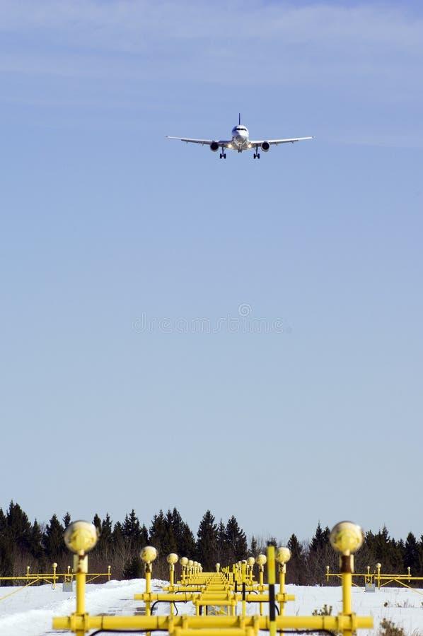 Vliegtuig binnen voor het landen royalty-vrije stock foto's