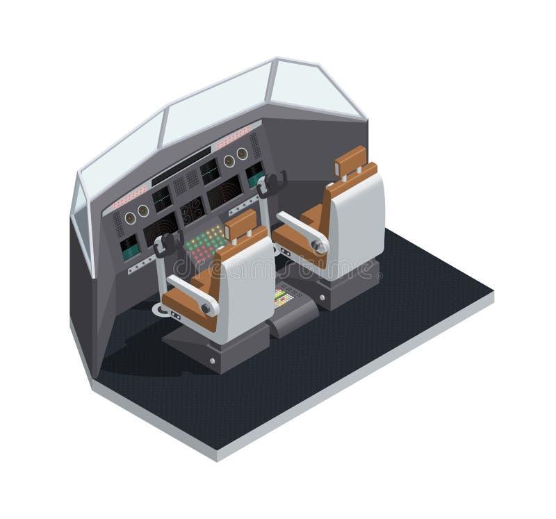 Vliegtuig Binnenlandse Isometrische Geïsoleerde Samenstelling royalty-vrije illustratie