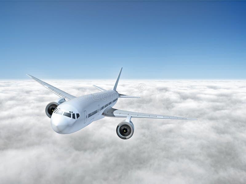 Vliegtuig boven wolken vector illustratie
