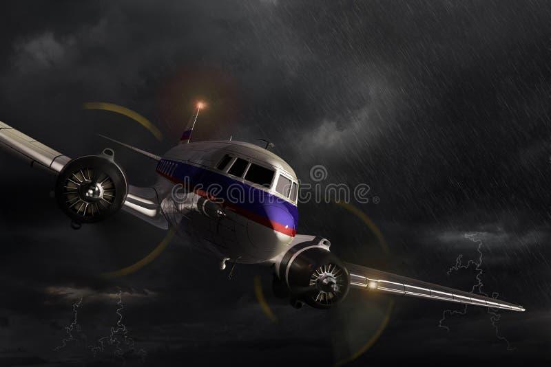 Vliegtuig Dakota in het onweer stock afbeeldingen