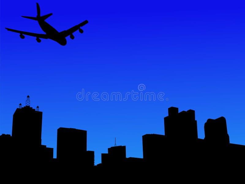 Vliegtuig dat in Dallas aankomt stock illustratie