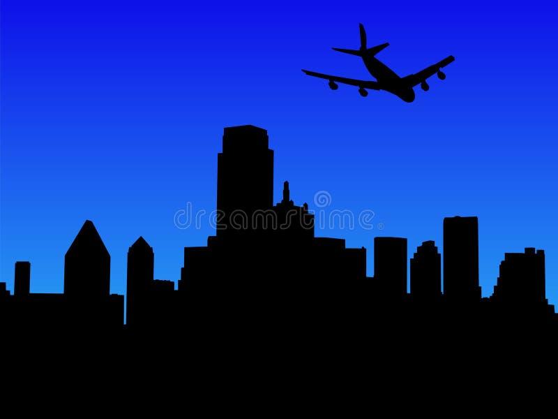 Vliegtuig dat in Dallas aankomt vector illustratie