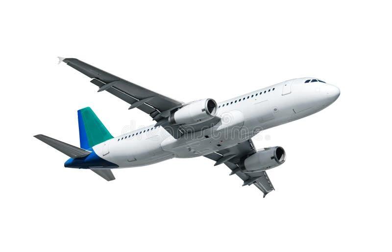 Vliegtuig dat op Wit wordt geïsoleerdh stock afbeelding