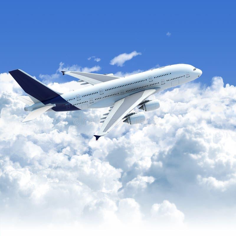 Vliegtuig dat over de wolken vliegt stock illustratie