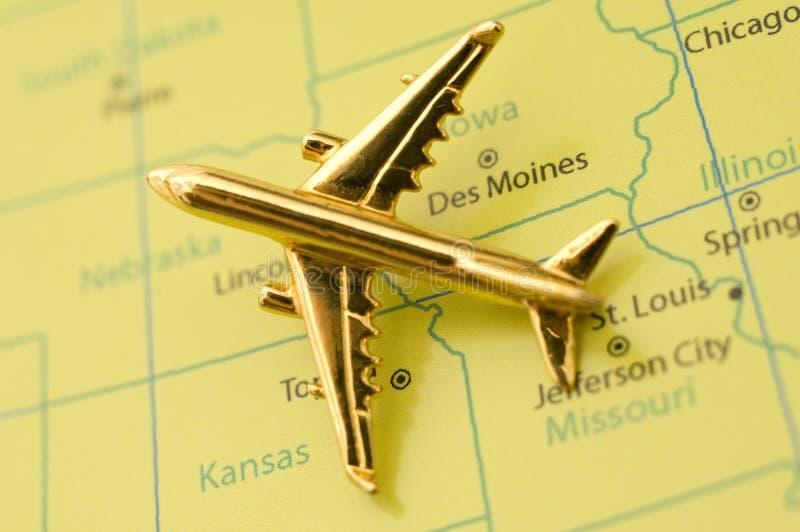 Vliegtuig dat over het Midwesten reist. royalty-vrije stock afbeeldingen