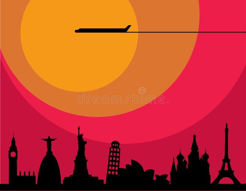 Vliegtuig dat over steden bij zonsondergang vliegt vector illustratie