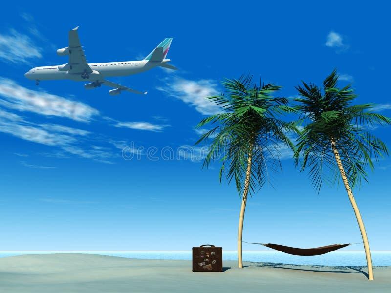 Vliegtuig dat over tropisch strand vliegt. stock afbeelding
