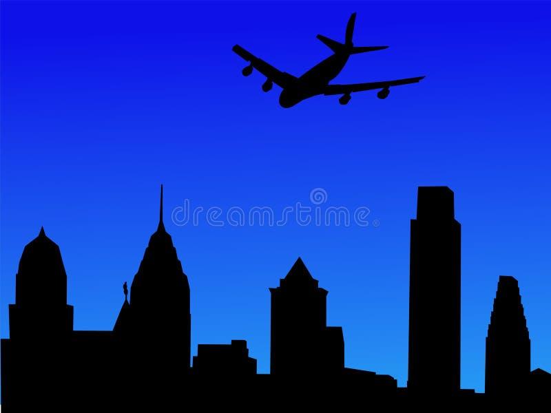 Vliegtuig dat in Philadelphia aankomt