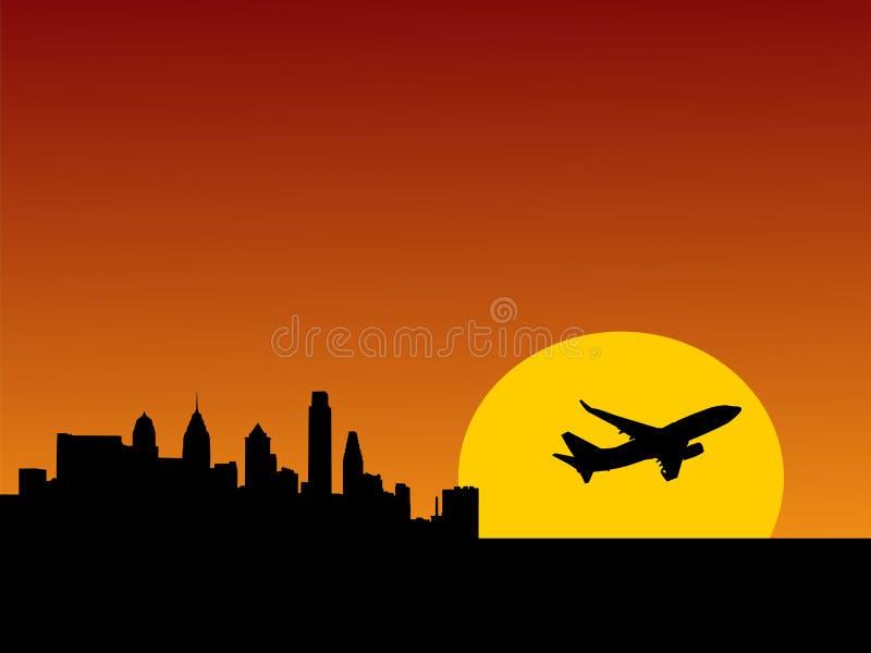 Vliegtuig dat Philadelphia van start gaat stock illustratie