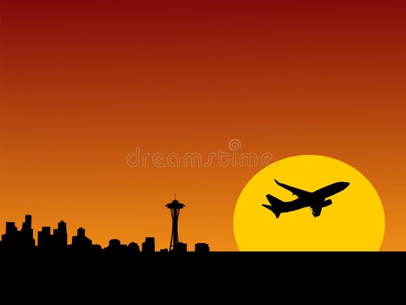 Vliegtuig dat Seattle verlaat royalty-vrije illustratie