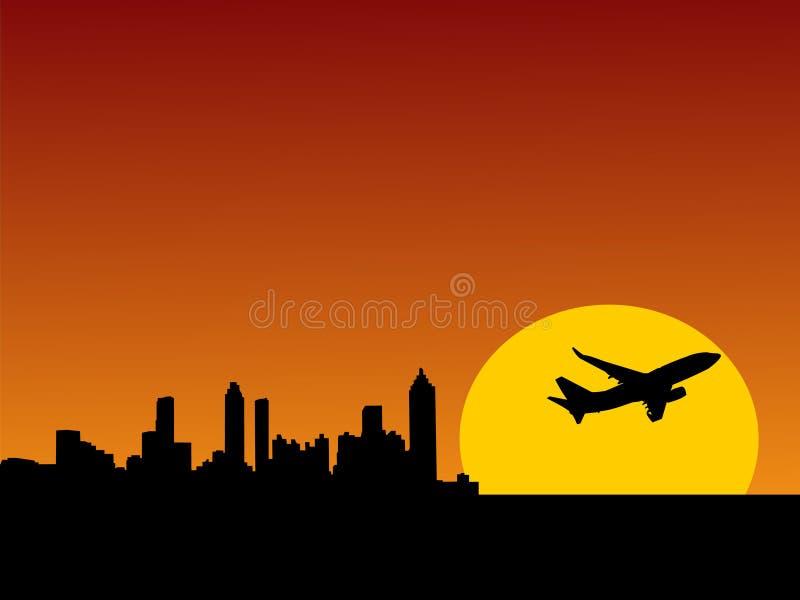 Vliegtuig dat van Atlanta van start gaat stock illustratie