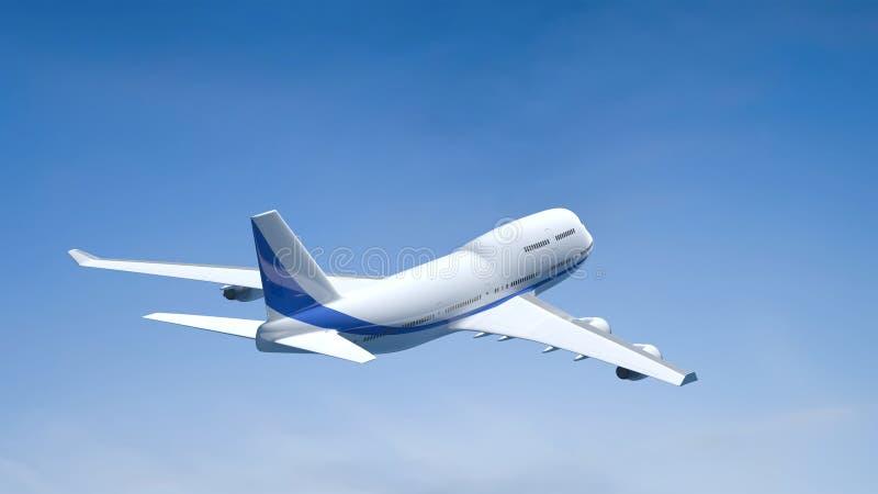 Vliegtuig in de blauwe hemel royalty-vrije stock fotografie