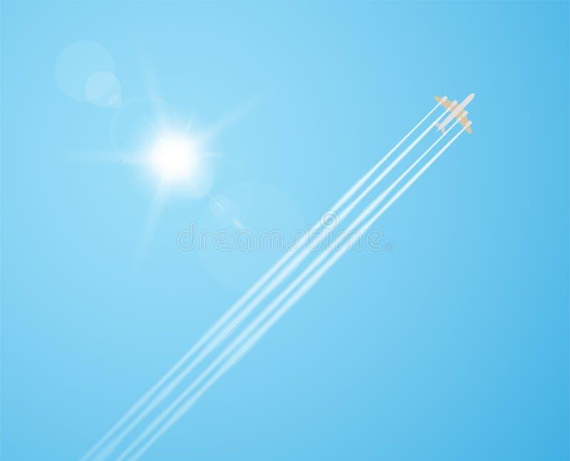 Vliegtuig in de hemel royalty-vrije illustratie