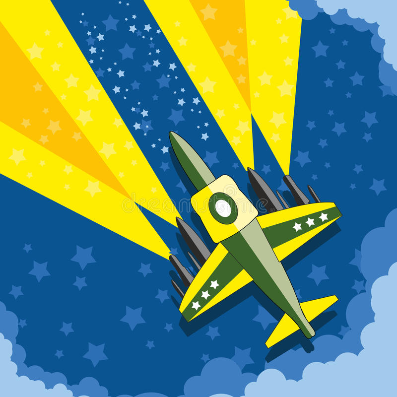 Vliegtuig in de nachthemel royalty-vrije stock afbeelding
