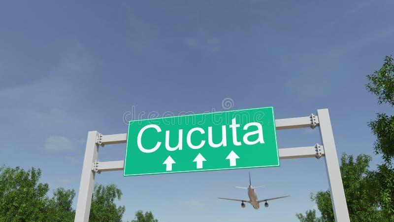 Vliegtuig die aan Cucuta-luchthaven aankomen Het reizen naar het conceptuele 3D teruggeven van Colombia royalty-vrije stock foto