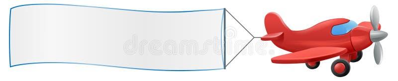 Vliegtuig die Bannerbeeldverhaal trekken stock illustratie