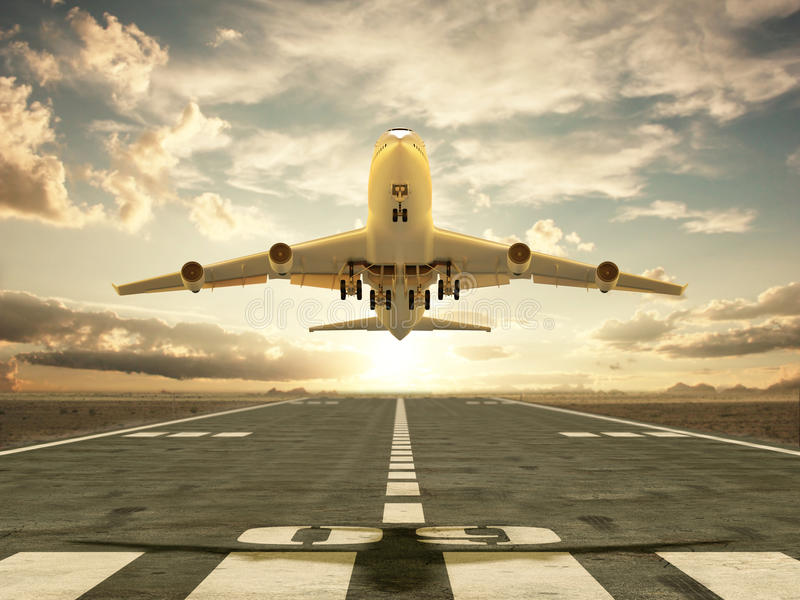 Vliegtuig die bij zonsondergang opstijgen vector illustratie