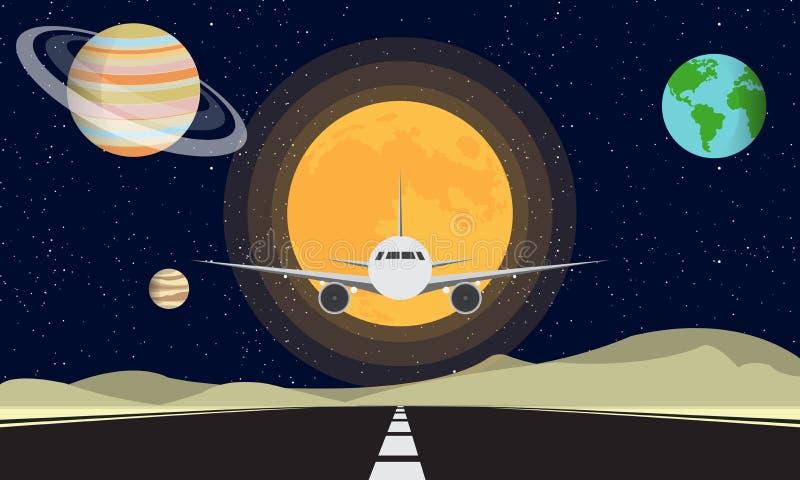 Vliegtuig die in de Maan landen royalty-vrije illustratie